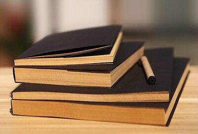New 32K Vintage Black Cover Blank Kraft Paper Sketchbook Journal Diary Note Book