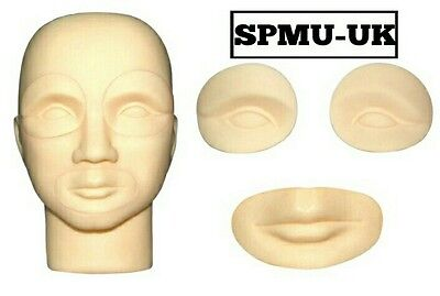 SPMU 3D Head Microblading Make-Up, Training Practice Fake Skin, Tattoo Lip, Brow ()