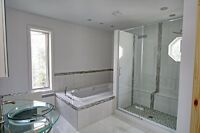 Bathroom renovation services, tiles, stone and backsplash instal