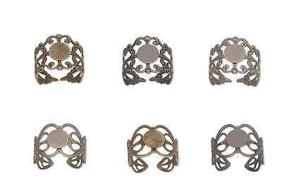 Ring Blank Setting Base Flat Pad Glue Setting Filigree Gunmetal Brass Adjustable Adjustable Ring Setting