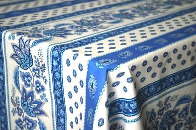 "LE CLUNY, LISA Ashen & BLUE, FRENCH PROVENCE COATED COTTON TABLECLOTH, 52"" x 72"""