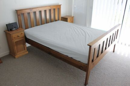 Queen bed, side tables with free mattress
