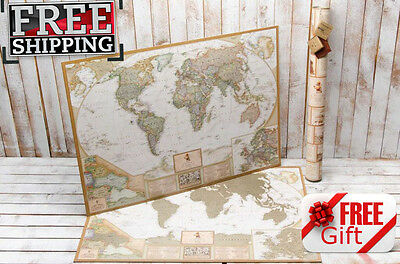 PUSH PIN TRAVEL MAP SCRATCH OFF WORLD ANTIQUE MAP WALL POSTER WITH FLAG