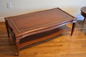 Solid Wood Rectangular Coffee Table w leather inlay