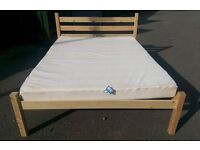 King size pine bed with silent night mattress (nearly new)