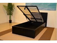 Black 4ft Single Storage Ottoman Gas Lift Up Bed Frame