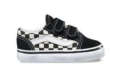 VANS TODDLER TD OLD SKOOL V BLACK White  CHECKERBOARD - Toddler Vans
