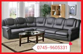 .7 seater Black Eco Leather Corner Sofa