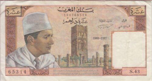 Morocco Banknote P54d-5314 10 Dirhams 1968 Alph #43, F-VF