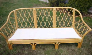Vintage rattan three seater couch