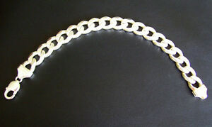 9 INCH CURB LINK HEAVY 925 ITALY STERLING SILVER MENS BRACELET
