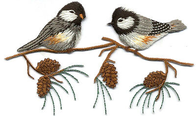 - Chickadee - Chickadees On A Branch - Pinecone - Bird - Iron On Applique Patch