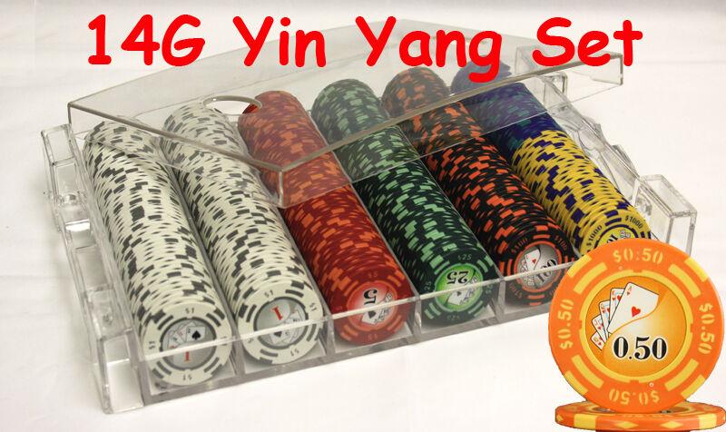 300 14G YIN YANG CASINO CLAY POKER CHIPS SET ACRYLIC CASE