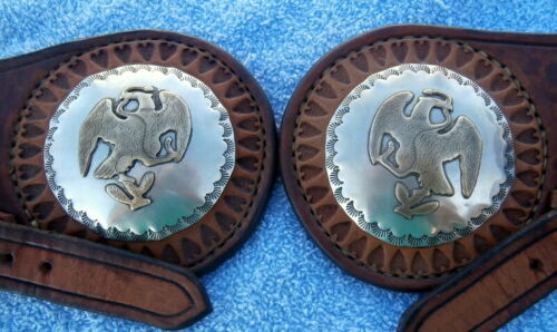 Eagle with Snake Silver Brass 2-1/2 in. Concho Custom Made Leather Spur Straps