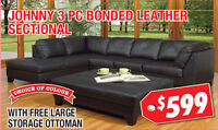 Johnny 3pc Bonded Leather Sectional, $599