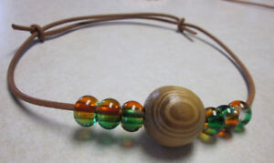 Wood and Glass bead, natural Leather necklaces