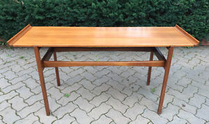 Jens Risom solid teak sofa console table mid century modern mcm