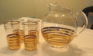 Collectible Clear & Gold Band Glass Ball Pitcher & 4 Highball Gatineau Ottawa / Gatineau Area image 1