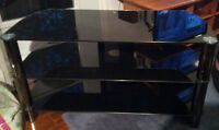 Sleak Tempered Glass Entertainment Stand