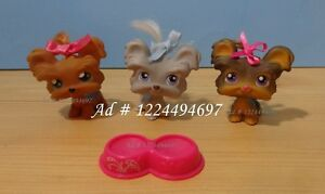 Littlest Pet Shop LPS Terrier Lot Real Hair Yorkie Teacup Dog