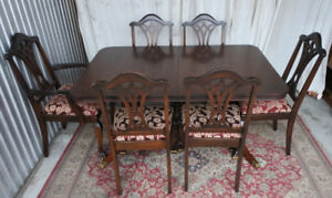 ** Elegant Antique 7pc Dining Set by Malcolm, newly refinished