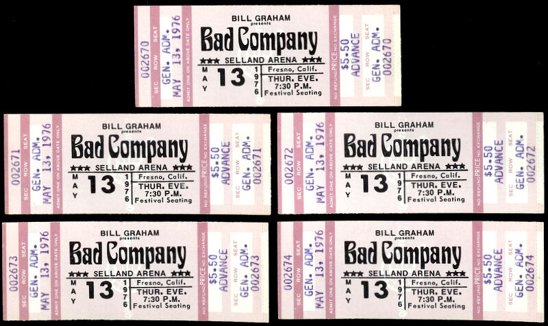 5 Unused Consecutive Numbers Bad Company Rock Music Concert Ticket May 13th 1976
