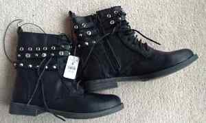 Two pairs combat boots - black and camo, new with tags Kitchener / Waterloo Kitchener Area image 1