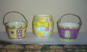 Ceramic Easter Baskets,Bowls,Straw Wreaths.. As shown Cambridge Kitchener Area image 3