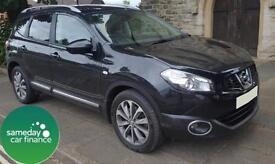 £271.97 PER MONTH BLACK 2011 NISSAN QASHQAI +2 2.0 TEKNA 4X4 7 SEAT DIESEL AUTO