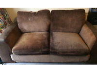 Brown sofa bed, Arm chair and footstool