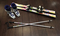 Girls Nordica Boots, Tecno Pro Skis and Poles,  LIKE NEW