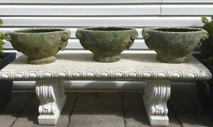 THREE Green Clay Garden Plant Pot/Urns ~ $45