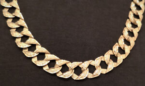 """Chaine Or/Gold chain - 10K / 24"""" / 87g / 16mm - Réversible"""