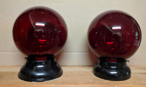 Antique Red Dome Fire Exit Lights (2)