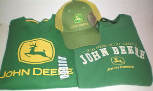 John Deere Med and Large Thermal Long Sleeve T Shirts and Cap