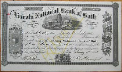 1888 Stock Certificate: 'Lincoln National Bank of Bath Maine' ME