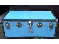 Pale Blue Vintage Travel Trunk, Chest, Blanket Box Or Coffee Table
