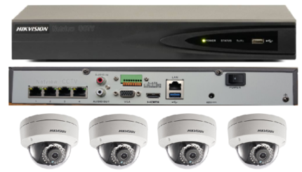 Hikvision DS-7604NI-E1/4P 4x DS-2CD2142FWD-IS 4MP Dome CCTV Cam