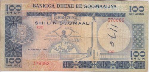 Somalia Banknote P28-6662 100 Shilin 1980 Series X001, Graffiti, F
