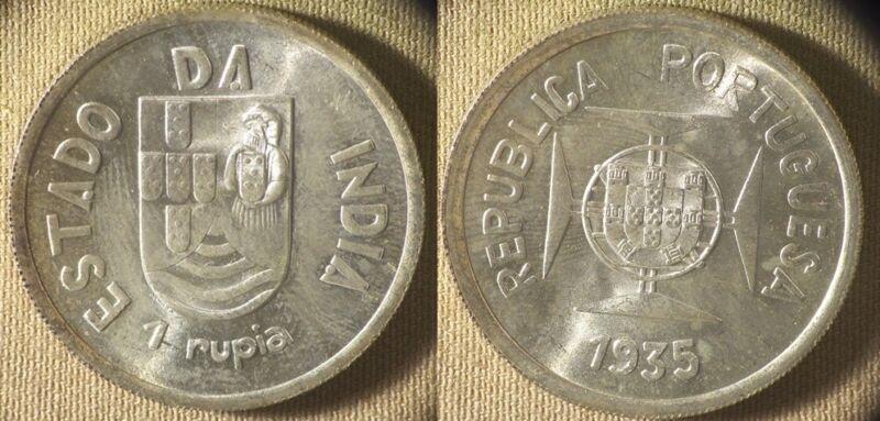 India : Portuguese 1935 1 Rupee Gem BU  #22   IR8321