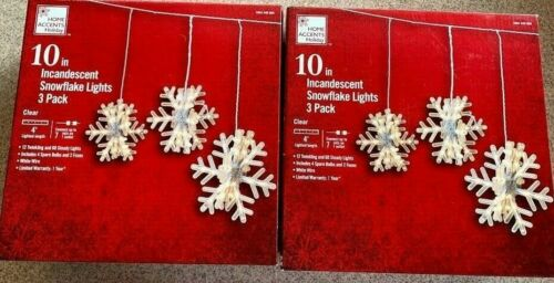 "2 boxes Home Accents Holiday Clear 10"" 3 Pack Hanging Snowflake Icicle Lights"