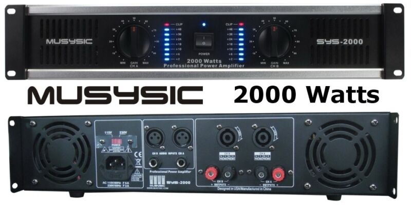 MUSYSIC 2 Channel 2000W Professional Power DJ Amplifier 2U Rack Mount Amp Stereo