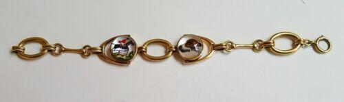 14K Gold Essex Crystal Reverse Intaglio Equestrian & Fox Hound Hunting Bracelet