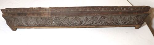 antique hand carved architectural salvage wood ornate relief wall mount shelf
