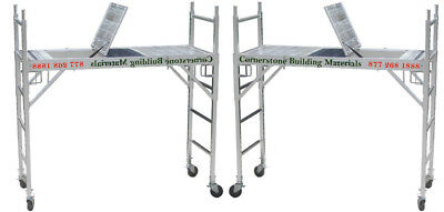 2 Set All Aluminum Scaffolding Rolling Tower With Aluminum Hatch Deck U Locks