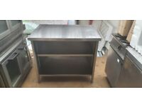 Open front stainless steel work-top cupboard