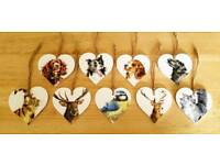Hanging Heart Decorations / Gift Tags - Shabby Chic
