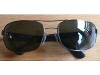 Ray Ban RB3445 004 Sunglasses, Gunmetal, Black Frame, Dark Green Classic Lens