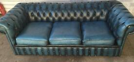 BLUE LEATHER CHESTERFIELD 3 AND 1 SOFAS