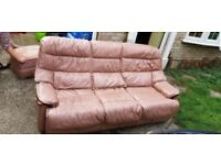 Free 3 seater leather sofa and futon